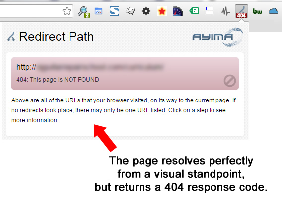 404 Header Response Code in Redirect Path Chrome Extension