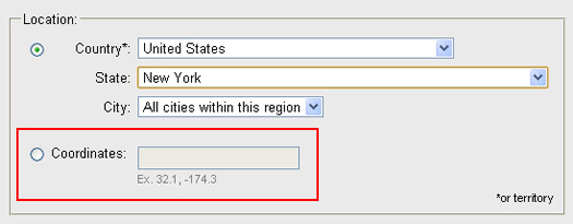 Entering latitude and longitude coordinates in the Google Ad Preview Tool