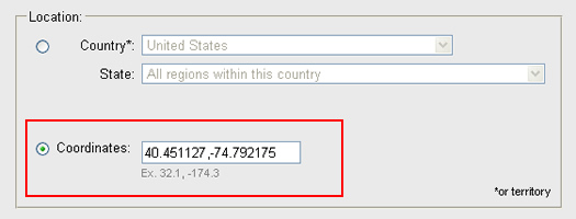 Entering specific latitude and longitude coordinates in the Google Ad Preview Tool