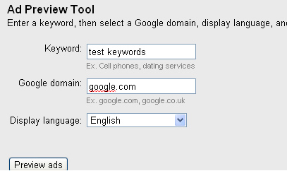 Entering keywords, Google domain, and language in the Ad Preview Tool
