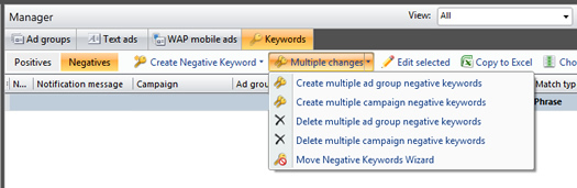 Adding Multiple Negative Keywords in adCenter Desktop