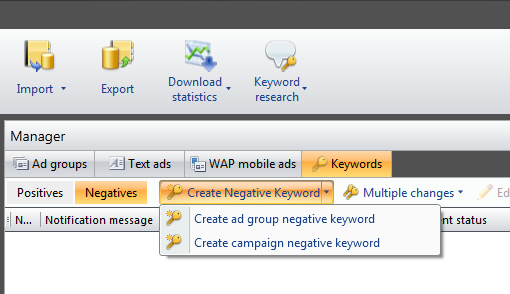 Add a Negative Keyword in adCenter Desktop