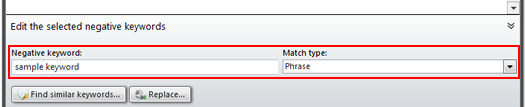 Select a Match Type for a Negative Keyword in adCenter Desktop