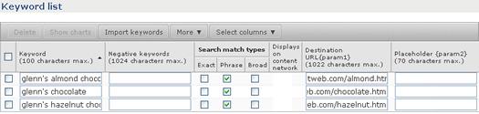 Adding param1 values for destination URL's in AdCenter.