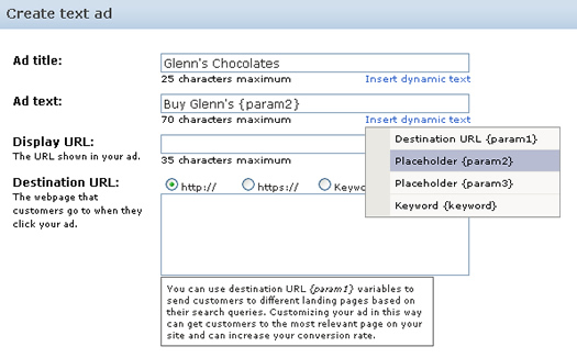 Inserting param2 in a text ad in AdCenter.