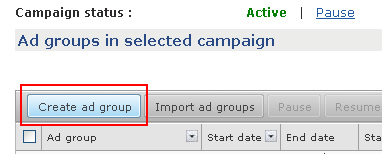 Creating a new ad group in AdCenter.