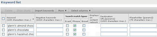 Adding new keywords to an ad group in AdCenter.