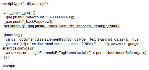 Google Analytics Snippet for Adjusted Bounce Rate