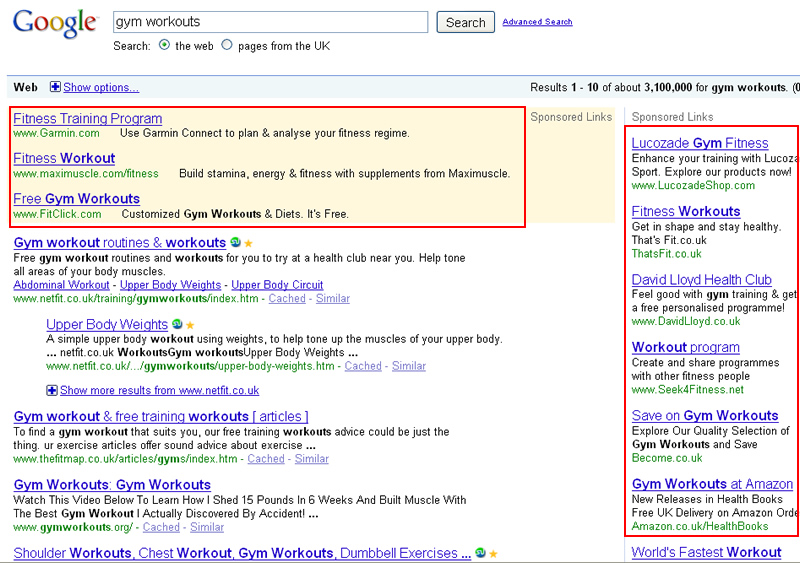 Ads displayed based on Google domain.