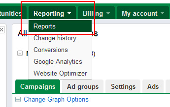 Creating a new report in Google AdWords