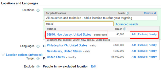 Zip Code Targeting in Google AdWords