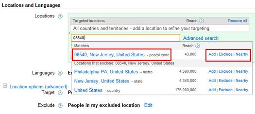 Zip Code Targeting in Google AdWords