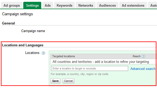 Location Targeting Settings in AdWords