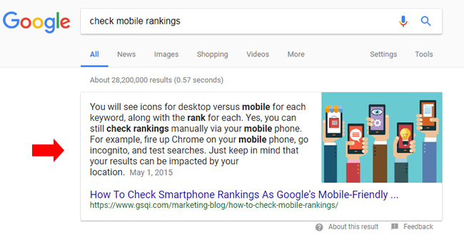 Example of a featured snippet.