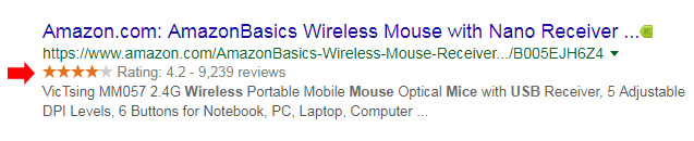 Example of rich snippets.