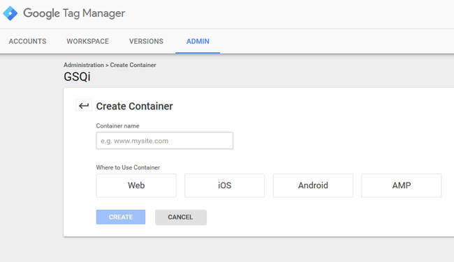 Create a container for AMP in Google Tag Manager.