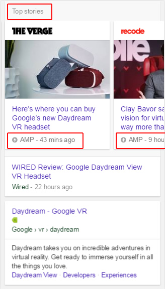 AMP in Top Stories Carousel