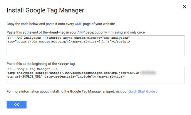 Install GTM code on AMP urls.