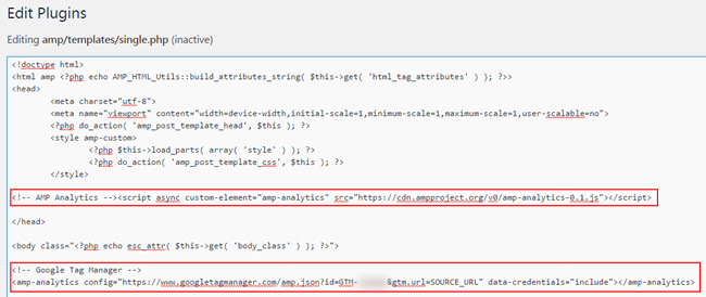 Adding the GTM code to the single.php file in WordPress.