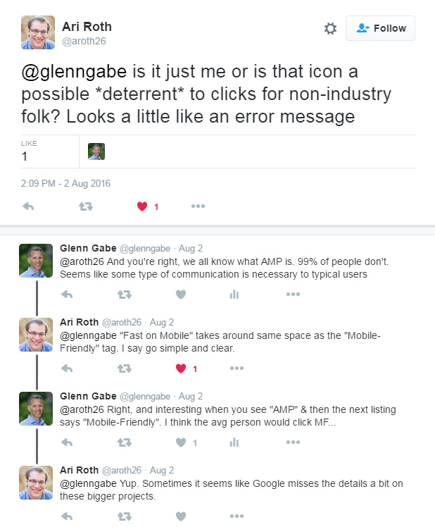 Tweet conversation about Google AMP in the SERPs
