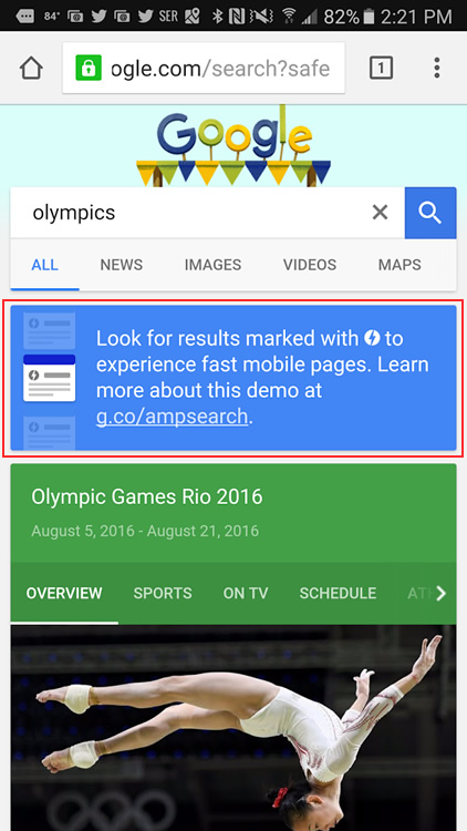 Demo message about AMP in the search results.