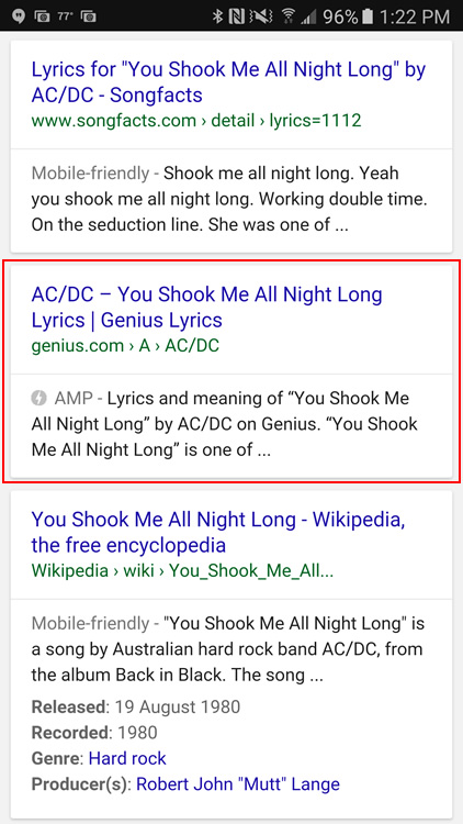 AMP in the search results