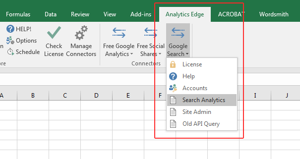 Search Analytics in Analytics Edge.