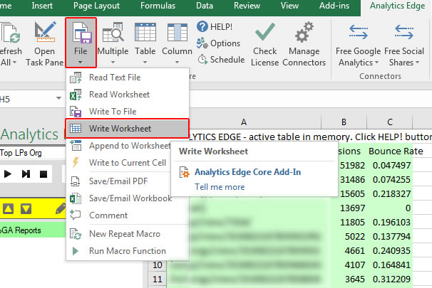 Write Worksheet in Analytics Edge