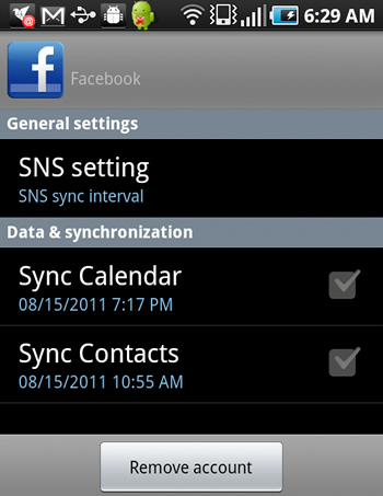 Facebook Sync Options on Android