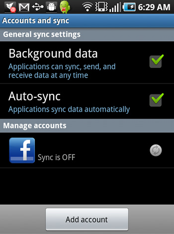 Facebook Sync Account on Android