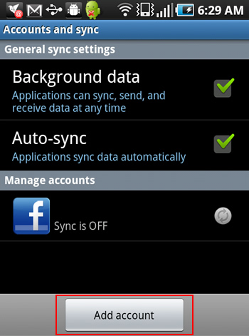Facebook Sync Add Account on Android