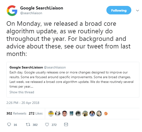 Google confirms April 16 2018 update.
