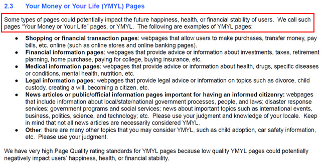 Your Money or Your Life (YMYL) in the Quality Rater Guidelines