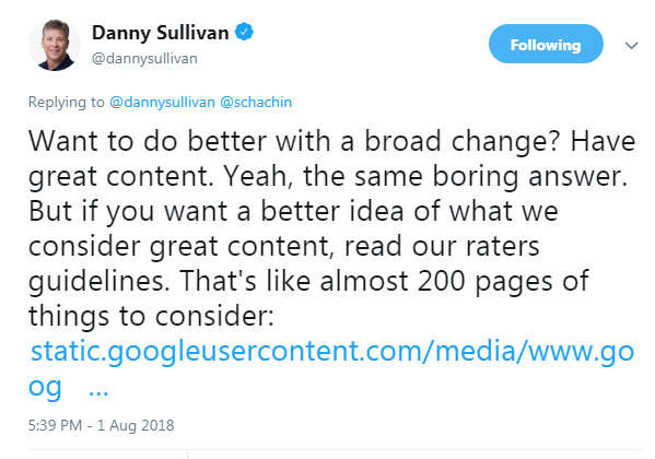 Google's Danny Sullivan mentioning the Quality Rater Guidelines after the 8/1 update.