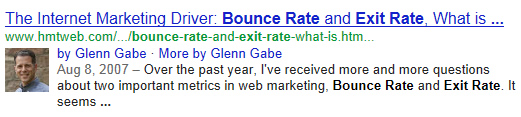 An example of author details in Google.