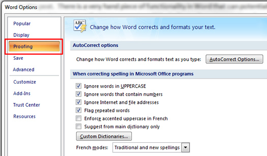 The Proofing Tab in Microsoft Word.