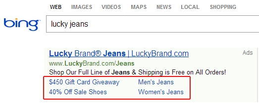 Example of Sitelink Extensions in Bing Ads for Lucky Jeans