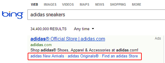 Example of Sitelink Extensions in Bing Ads for Adidas