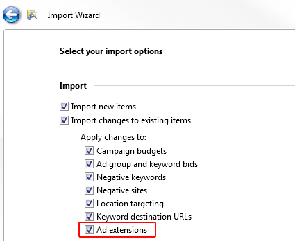 Importing Sitelink Extensions in Bing Ads Editor