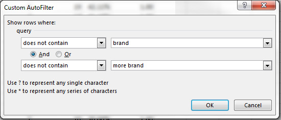 Filtering out brand queries in Excel.