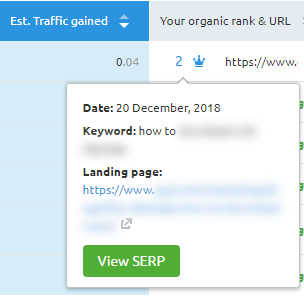 Viewing the SERP snapshot for featured snippets in SEMrush.