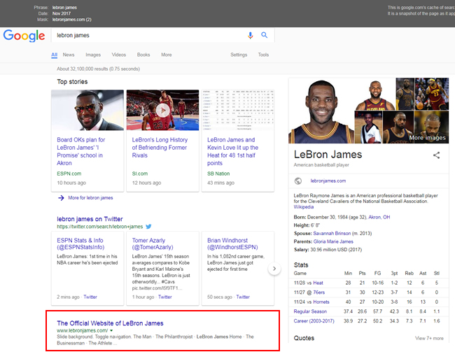Lebron James ranking #1 before the update.