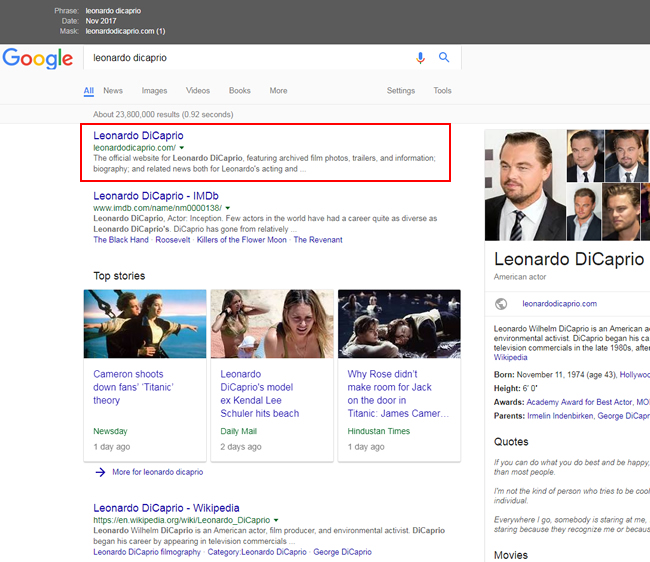 Leonardo Dicaprio's site ranking #1 before the update.