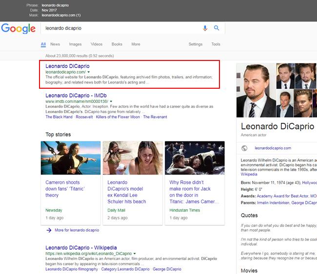 Leonardo Dicaprio's site ranking #1 before the update.