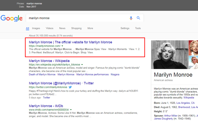 Marilyn Monroe's official site ranking #1 before the algorithm update.