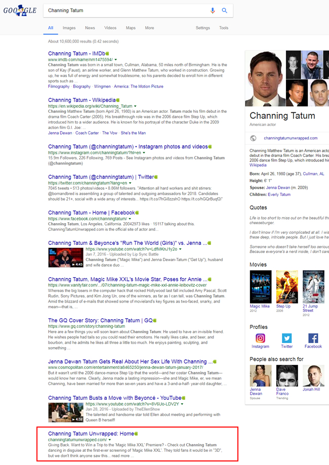The official site for Channing Tatum dropping to #9 after the Google update.