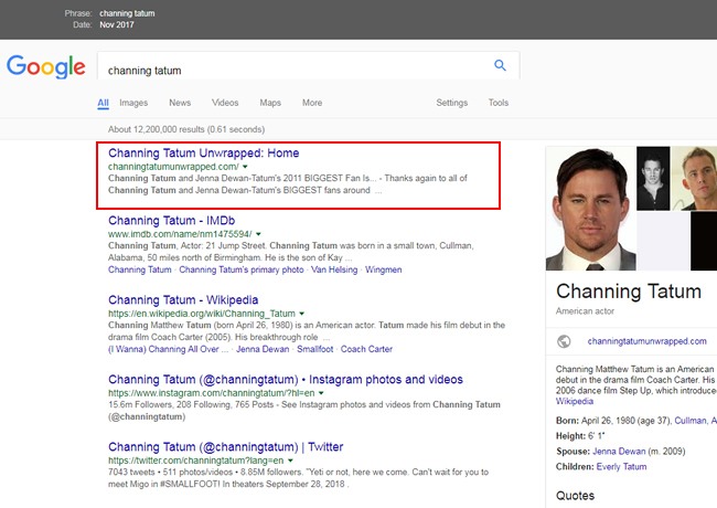 The official site for Channing Tatum ranking #1 before the Google update.