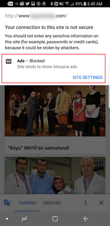 Site settings for a site with ads being blocked on mobile.
