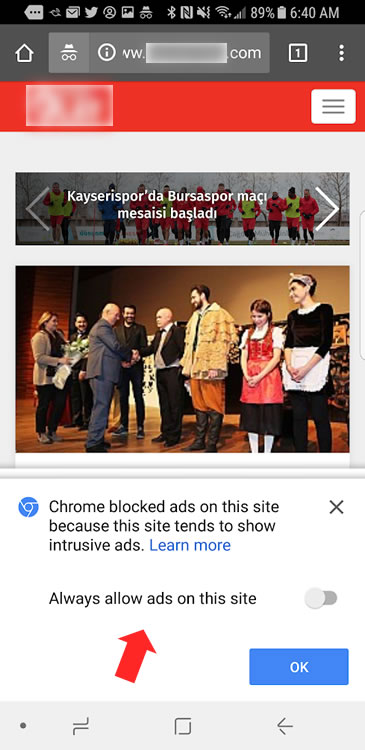 Ads being blocked in the stable version of Chrome for Android.
