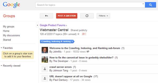 Google Webmaster Forums